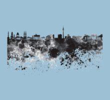 Berlin skyline in black watercolor Kids Tee