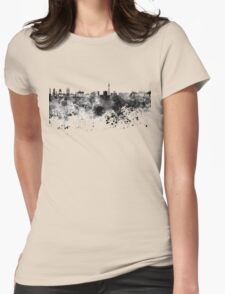 Berlin skyline in black watercolor Womens Fitted T-Shirt