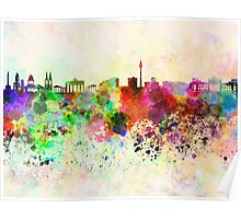 Berlin skyline in watercolor background Poster