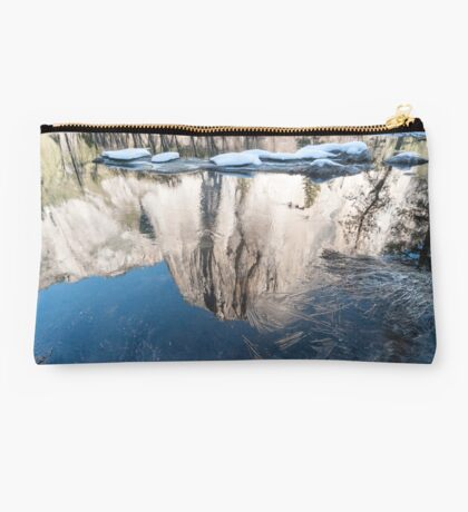 Reflection of El Capitan mountain, Yosemite national Park, California USA Studio Pouch