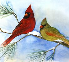 cardinals on a pine branch wintry handmade aquarelle by Veera Pfaffli