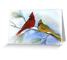 cardinals on a pine branch wintry handmade aquarelle Greeting Card