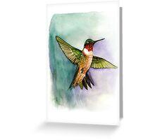 hummingbird in flight handmade aquarelle Greeting Card