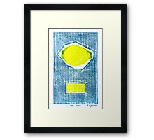 bad lemon retro fruit fine art binary code litho print Framed Print