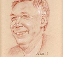 Sir Alex Ferguson - portrait sketch by Paulette Farrell