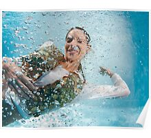 woman floats underwater in air bubbles  Poster