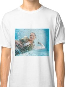 woman floats underwater in air bubbles  Classic T-Shirt