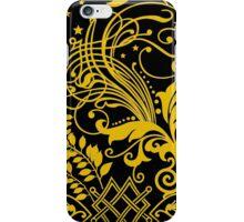Yellow Swirls on Black iPhone Case/Skin