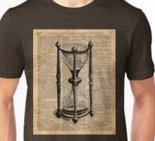 Time,Antique Hourglass,Sandglass Vintage Dictionary Art Unisex T-Shirt