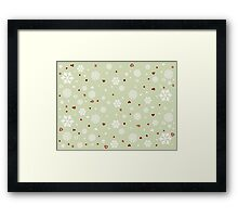 Holiday Snowflakes Hearts on Green Framed Print