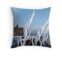 seasonal view of ballybunion castle in snow Throw Pillow