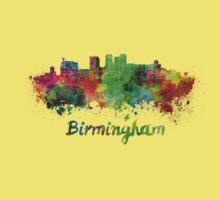 Birmingham AL skyline in watercolor Kids Tee