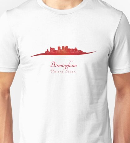 Birmingham AL skyline in red Unisex T-Shirt