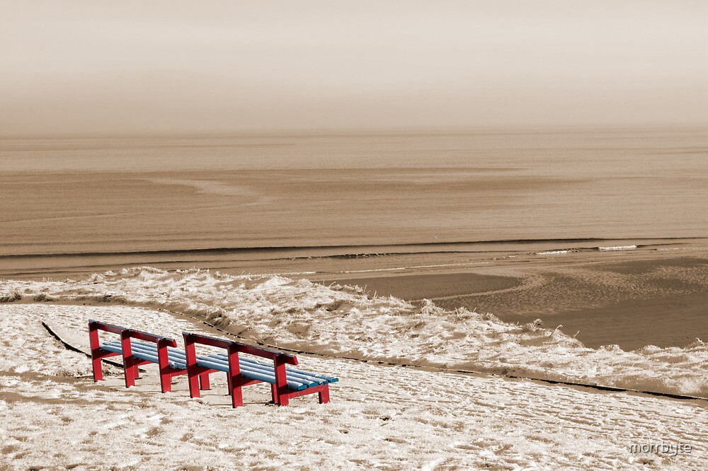 winter beach view and red benches by morrbyte