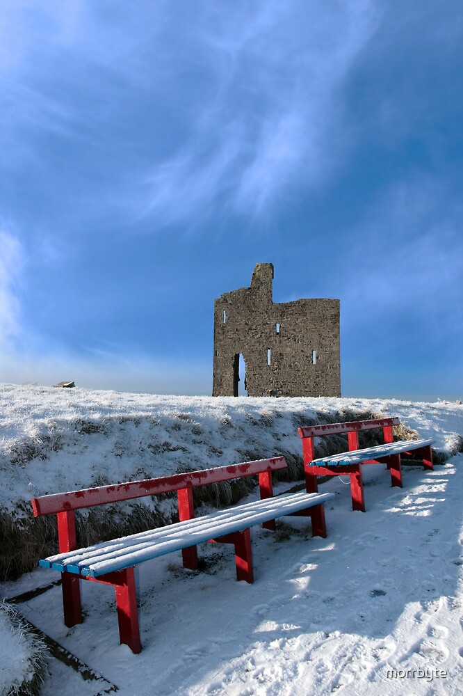 winters pathway to ballybunion castle and red benches by morrbyte