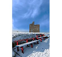 winters pathway to ballybunion castle and red benches Photographic Print