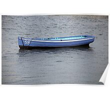 Number 58 pastel blue rowing boat, Saltash, Cornwall, UK Poster