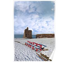 winters view of ballybunion castle and red benches Poster