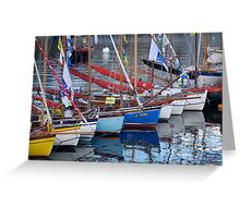 Bows of colourful boats and reflections in harbour, Brest 2008 Maritime Festival, France Greeting Card