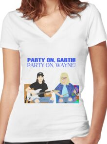 WAYNE'S WORLD - Party On! Women's Fitted V-Neck T-Shirt