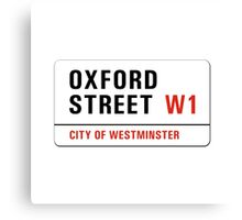 Oxford Street, London Street Sign, UK Canvas Print