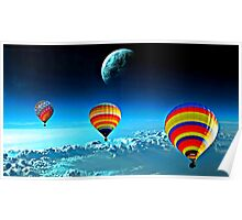 Hot Air Ballons Above The Clouds  Poster