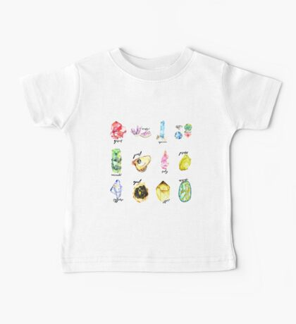 Watercolor Birthstones With Calligraphy Baby Tee