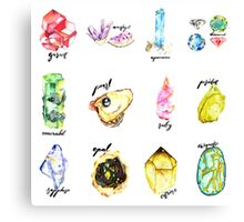 Watercolor Birthstones With Calligraphy Canvas Print
