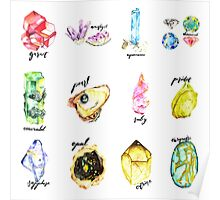 Watercolor Birthstones With Calligraphy Poster