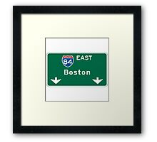 Boston, MA Road Sign, USA Framed Print