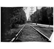 Black and White Railroad Tracks Poster