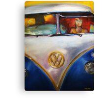 'Redhead Deadhead in 1960's VW Bus' Volkswagen Canvas Print