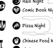 TBBT - Sheldon's weekly schedule Sticker