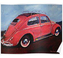 'Salmon Oval Sunroof' Oval Window Volkswagen Poster