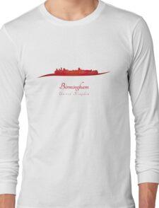 Birmingham skyline in red Long Sleeve T-Shirt