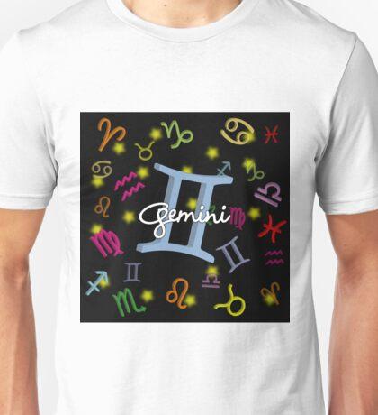 Gemini Floating Zodiac Name Unisex T-Shirt