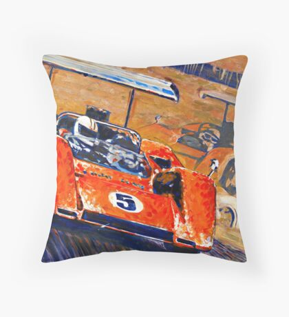 'Two McLaren's - Can-Am Champions' Vintage Racing Throw Pillow