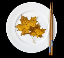 Plate with chopsticks and maple leaves by Cebas