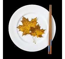 Plate with chopsticks and maple leaves Photographic Print