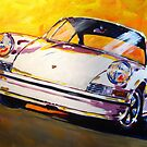 'White Early 911' Vintage Porsche by Kelly Telfer
