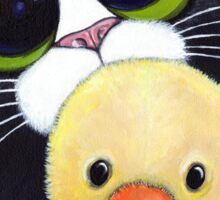 Scared Tuxedo Cat with Toy Duck Sticker