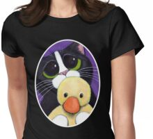 Scared Tuxedo Cat with Toy Duck Womens Fitted T-Shirt