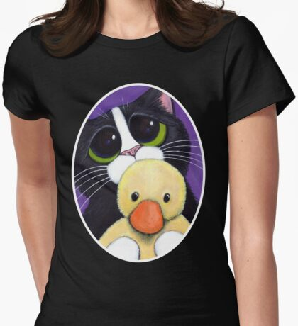 Scared Tuxedo Cat with Toy Duck T-Shirt