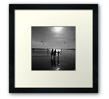 Gray scale seascape Framed Print