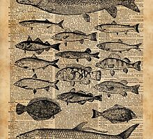 Vintage Illustration of Fishes Over Old Book Page Dictionary Art Collage by DictionaryArt