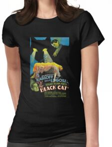Black Cat - Poe Karloff and Lugosi Womens Fitted T-Shirt