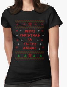 Merry Christmas ya Filthy Animal - Bold Font Womens Fitted T-Shirt