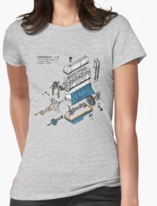 Nissan L6 Exploded View Womens Fitted T-Shirt