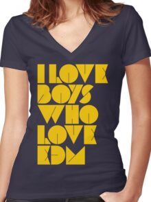 I Love Boys Who Love EDM (Electronic Dance Music) [Mustard] Women's Fitted V-Neck T-Shirt