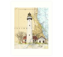 Grosse Pt Lighthouse IL Nautical Chart Cathy Peek Art Print